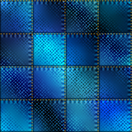 Seamless background pattern. Blue patchwork with satin effect.