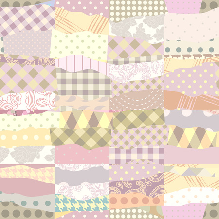 sewing pattern: Seamless background pattern. Patchwork of wavy patches.