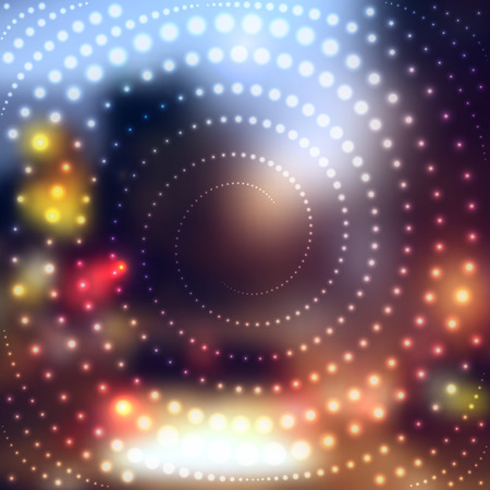 nigth: Blurred abstract background of nigth city with spiral of polka dot. Illustration