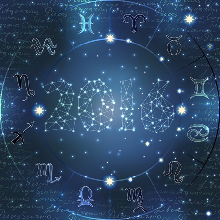 Signs of zodiac on blur space background and number 2016.