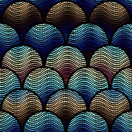 arc: Seamless background pattern. Abstract mosaic geometric pattern with arc elements. Illustration