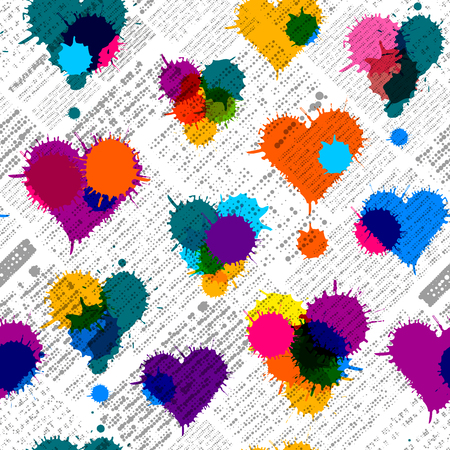 Imitation of newspaper background with the hearts of blobs. Seamless pattern. Illustration