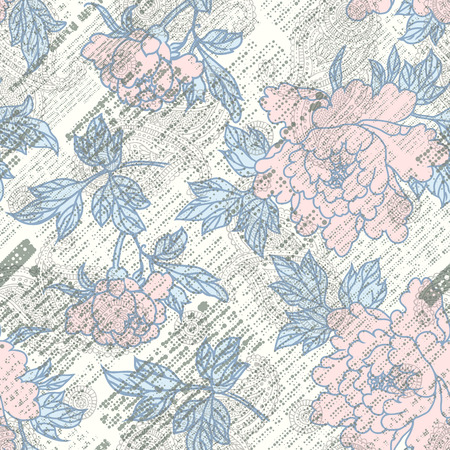 old newspapers: Imitation of retro newspaper background with the peones. Seamless pattern.