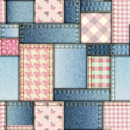 jeans fabric: Seamless background pattern. Patchwork of pink and jeans fabric.