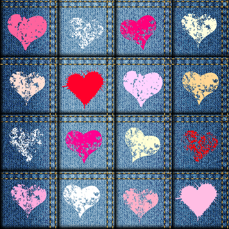 sewing pattern: Seamless background pattern. Patchwork of denim fabric with a hearts.