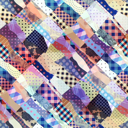 patchwork pattern: Seamless background pattern. Diagonal patchwork wavy pattern.