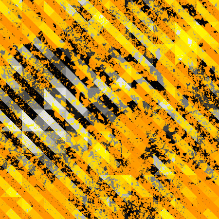trash danger: Seamless background pattern. Abstract geometric pattern with grunge elements. Yellow line on black background. Illustration