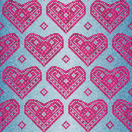 jeans fabric: Seamless background pattern. Embroidery hearts on jeans fabric.