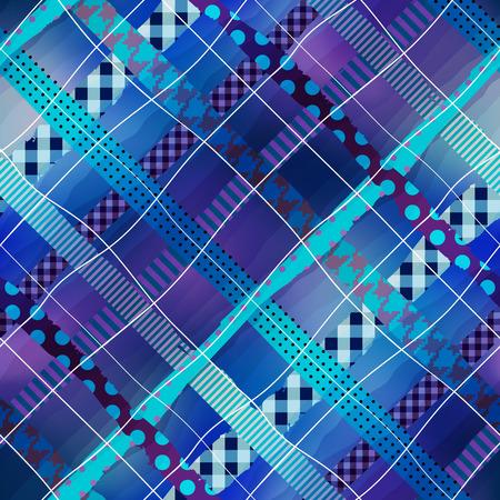 Seamless background pattern. Navy blue plaid diagonal geometric pattern.