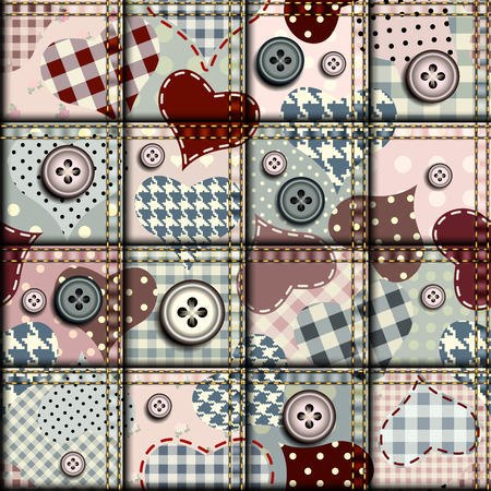 Hearts in scrapbook patchwork style. Seamless background pattern. Illustration