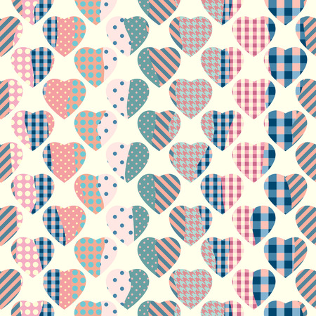 imitations: Hearts in scrapbook patchwork style. Seamless background pattern. Illustration