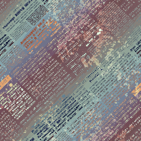 Seamless background pattern. Imitation of old newspaper, text is unreadable. Illustration