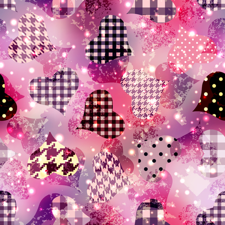 Hearts with the grunge effects on pink magenta background. Seamless pattern.
