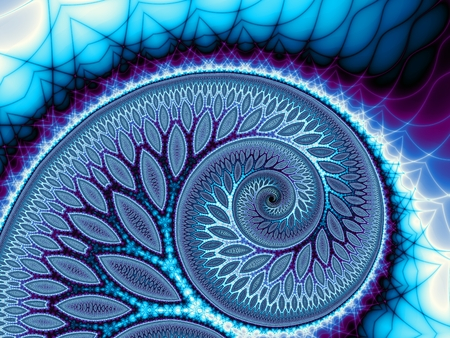 Abstract fractal background. Digital ert. Big blue spiral. with a branches