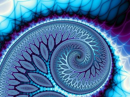 Abstracte fractale achtergrond. Digitale ert. Grote blauwe spiraal. met een takken