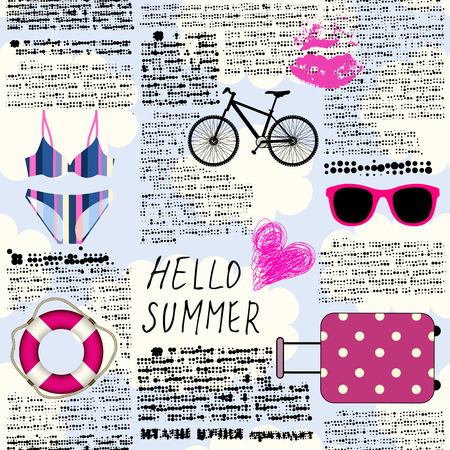 Seamless background pattern. Imitation of old newspaper, text is unreadable. Hello summer.