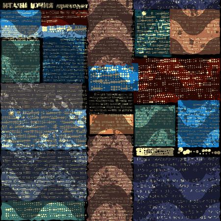 Seamless background pattern. Grunge dark ewspaper with a waves. Text is unreadable.