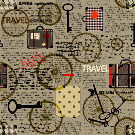 Seamless background pattern. newspaper with a suitcases and word travel. Text is unreadable.
