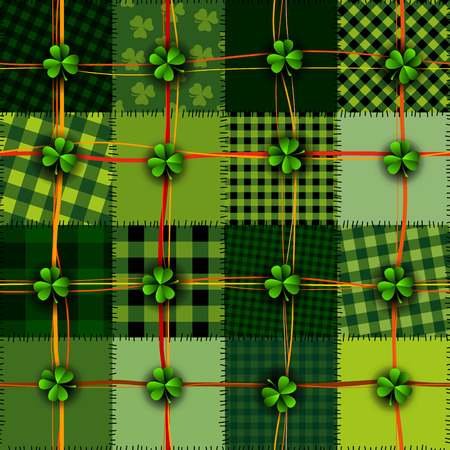 Seamless background pattern. Patchwork St. Patrick's Day Celtic background with clover. Seamless background pattern.