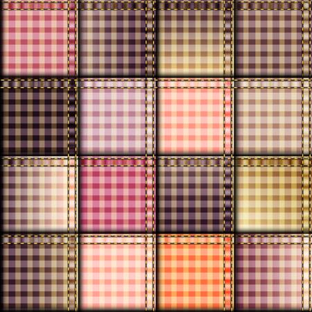 Seamless background pattern. Pink plaid patchwork background Illustration