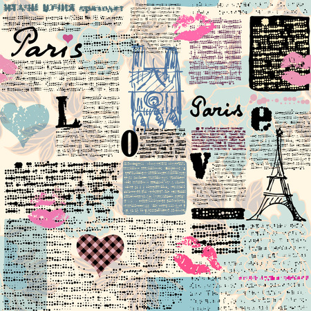 Seamless background pattern. Newspaper Paris with a flowers. Text is unreadable.