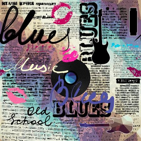 Jednolite tło wzór. Grunge niebieski gazeta oryginalne inskrypcje bluesa i muzyki gitarowej i sylwetki. Ilustracje wektorowe