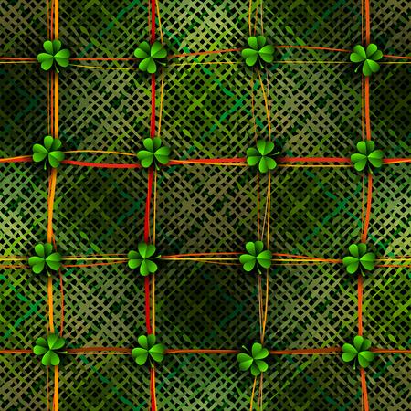 celtic background: Seamless background pattern. Patchwork St. Patricks Day Celtic background with clover. Seamless background pattern.