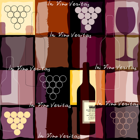 vino: Seamless background pattern. Background for wine card with the inscription In Vino Veritas.
