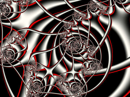 digital illustration: Fractal artwork for creative design. Abstract red wave on a gray background.