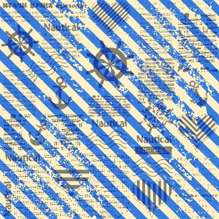 old newspapers: Seamless background pattern. Nautical style. Diagonal blue strips on newspaper background. Illustration
