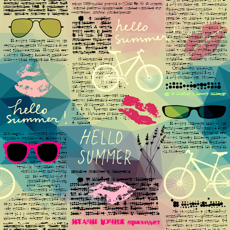 unreadable: Seamless background pattern. Imitation of old newspaper, text is unreadable. Hello summer.