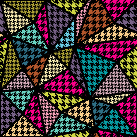 mondrian: Seamless background pattern. Geometric pattern from hounds-tooth pattern in a patchwork style.