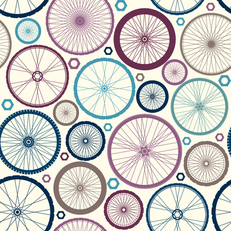 locomotion: Seamless background pattern. Pattern of bycicles wheels. Illustration