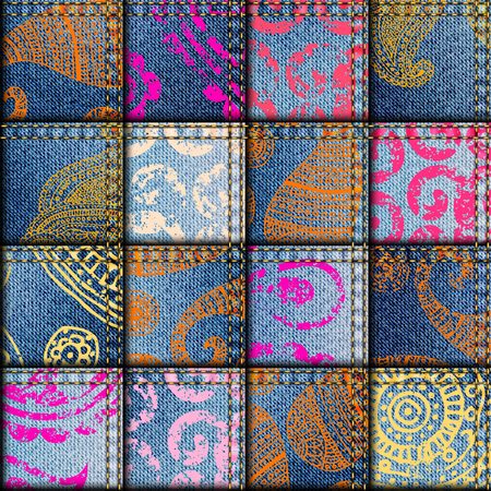Seamless background pattern. Patchwork in indian style.