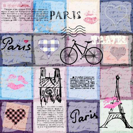nostalgy: Seamless background pattern. Retro scrapbook collage Paris. Illustration