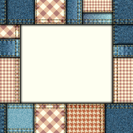 denim fabric: Bordered background of denim fabric texture in patchwork style.