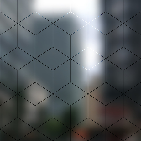 city lights: Blur lights city background with lines of cubes.