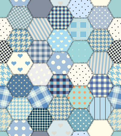 Blue patchwork hexagon stitched quilt seamless pattern in vector