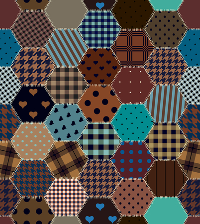 stitched: Brown patchwork hexagon stitched quilt seamless pattern in vector