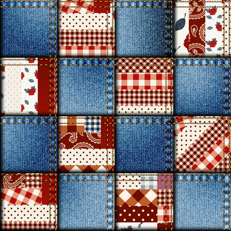 patchwork pattern: Seamless background pattern. Patchwork of denim fabric.