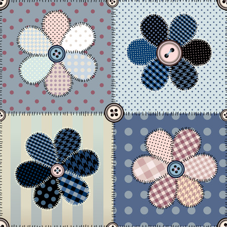 patchwork pattern: Seamless background pattern. Patchwork with the flowers