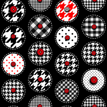Seamless background pattern. Patchwork background with a polka dot. Vector Illustration