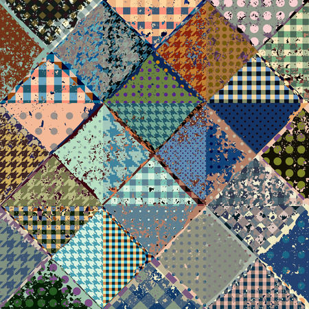 patch of light: Vector abstract seamless patchwork pattern from blue and beige triangles with grunge effect.