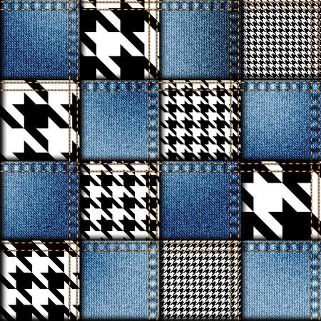 Seamless background pattern. Patchwork of denim fabric.