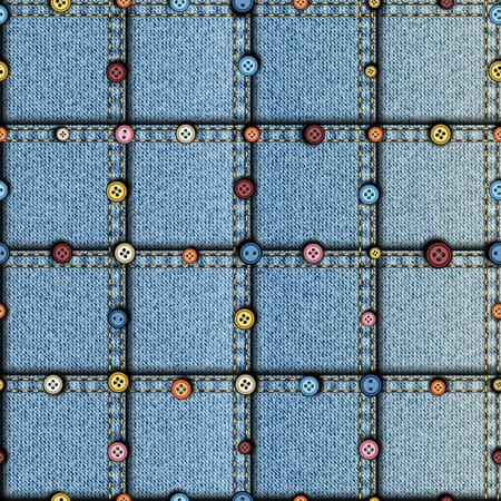Seamless background pattern. Patchwork of denim fabric. with a buttons.