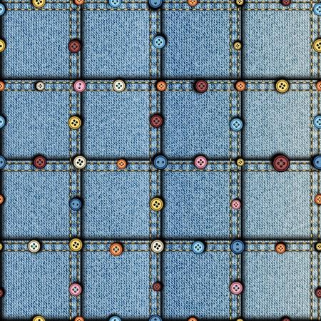 Motivo di sfondo senza soluzione di continuità. Patchwork di tessuto denim. con i tasti.