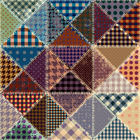 patch of light: Vector abstract seamless patchwork pattern from grunge vintage  triangles.