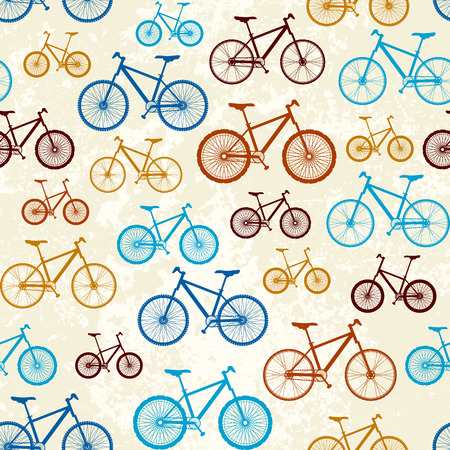 velocipede: Seamless background pattern. Pattern of retro bicycles Illustration