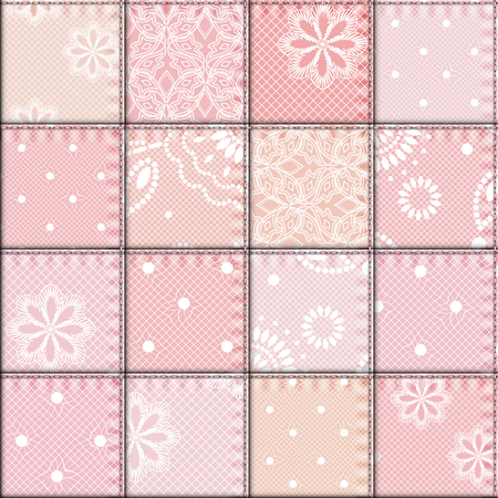 patchwork pattern: Seamless background pattern. Patchwork of lace fabric.