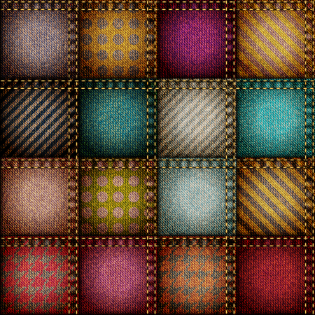 patchwork pattern: Seamless background pattern. Patchwork of squares patches Illustration